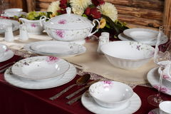 White luxury sets of porcelain bowl Stock Images
