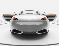White luxury sports car. White Peugeot luxury sports car with open top and open doors on exhibition stand Royalty Free Stock Photo