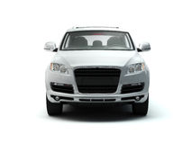 White luxury SUV front view Stock Image