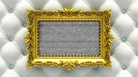 White luxury upholstery on background. Tv noise and green chroma key plays on the screen in ornate gold picture frame. Tv noise on the screen in gold picture stock video footage