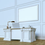 White luxury wooden office cabinet with mock up canvas. Perspect. Ive view version. 3d render Royalty Free Stock Photos