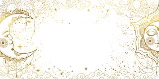 Free White Magic Background With Sleeping Golden Sun With Face And Crescent Moon  Space Pattern With Copy Space And Stars. Layout For Royalty Free Stock Images - 209143329