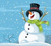Happy Snowman Winter Vector Cartoon. White Magical Christmas winter scenery with cute character enjoying the snow Stock Photos