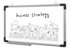 White magnetic board and business sketches Royalty Free Stock Images