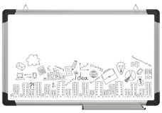 White magnetic board and business sketches stock images