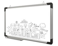 White magnetic board and business sketches Royalty Free Stock Photo