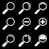 White Magnifier Glass Icons Stock Images