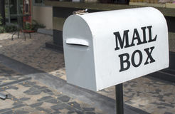 White mail box. Contact Information Stock Image