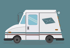 White mail truck. White truck to deliver mail Royalty Free Stock Images