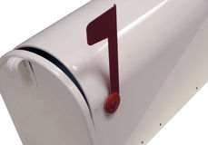White Mailbox. With Red Flag Stock Image