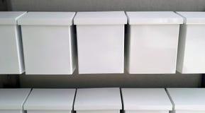 White mailboxes closeup stock photos
