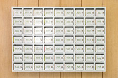 White mailboxes. On the wood background Royalty Free Stock Image