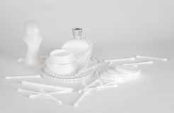 White make-up accessories on a white background. A picture of female accessories Royalty Free Stock Image