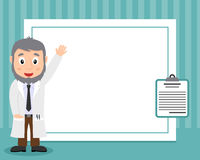White Male Doctor Horizontal Photo Frame. A funny horizontal photo frame with a cute cartoon white male doctor and a medical record, on blue background. Eps file Royalty Free Stock Photo