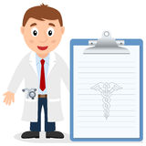 White Male Doctor with Medical Record Royalty Free Stock Photography