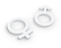 White Male and female symbols Royalty Free Stock Image