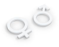 White Male and female symbols Royalty Free Stock Image