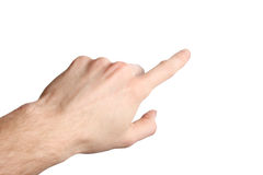 White hand pointing with the index finger on white background. White male hand pointing with the index finger on white background royalty free stock photos