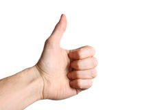 White hand showing a thumbs up sign isolated on white background. White male hand showing a thumbs up sign isolated on white background Royalty Free Stock Photo