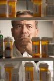 White male with prescription drugs Stock Image