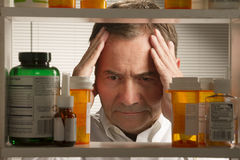 White male with prescription drugs Stock Photography
