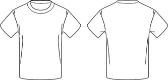 White male t-shirt. Front and back contour drawing. Illustration Stock Image