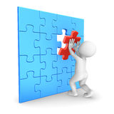 White man assembling last puzzle piece. 3D rendered illustration Stock Photos