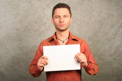 White man with card - space for copy, front Stock Photos