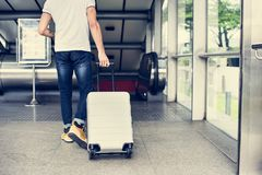 White man carrying luggage for travel royalty free stock image