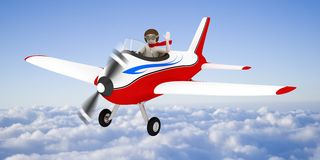 White man flying in the sky, over the clouds Stock Photos