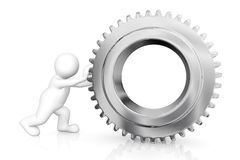 White man with gear mechanism. White man with gear mechanism isolated on white with clipping path Stock Photo