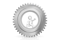 White man with gear mechanism. White man with gear mechanism isolated on white with clipping path Royalty Free Stock Photography