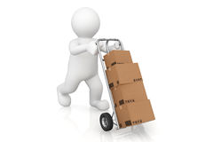 White man and hand truck with cardboard box with clipping path. Royalty Free Stock Images