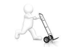 White man and hand truck with clipping path. Stock Photos