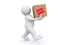 White man holding cardboard box with clipping path. Stock Photography
