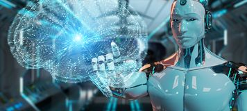 White man humanoid creating artificial intelligence 3D rendering. White man humanoid on blurred background creating artificial intelligence 3D rendering stock illustration