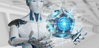 White man humanoid using drone security camera 3D rendering. White man humanoid on blurred background using drone security camera 3D rendering stock illustration