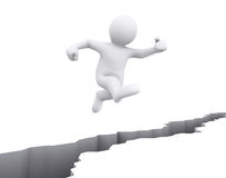 White man jump over crack floor. Stock Image