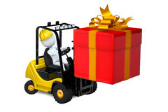 White man on a loader with a gift by a holiday Stock Image