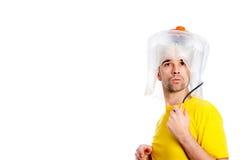 White man man with hair dryer Royalty Free Stock Photo