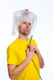 White man man with hair dryer Stock Images