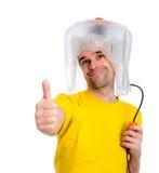 White man man with hair dryer Stock Photos