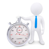 The white man and the metal stopwatch Royalty Free Stock Photos