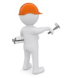 The white man in an orange helmet. With the drawings indicate the forward hand.  on white background Stock Images