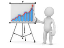 White man pointing business chart on whiteboard Royalty Free Stock Image