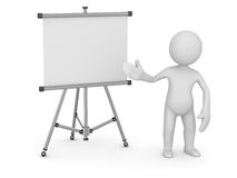 White man pointing empty whiteboard Stock Image