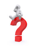 White man with red question mark. Royalty Free Stock Photos
