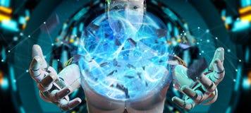 White man robot creating energy ball 3D rendering. White man robot on blurred background creating energy ball 3D rendering Stock Photography