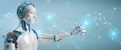 White man robot using digital network connection 3D rendering. White man robot on blurred background using digital network connection 3D rendering stock illustration