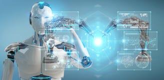 White man robot using robotics arms with digital screen 3D rende. White man robot on blurred background using robotics arms with digital screen 3D rendering stock illustration